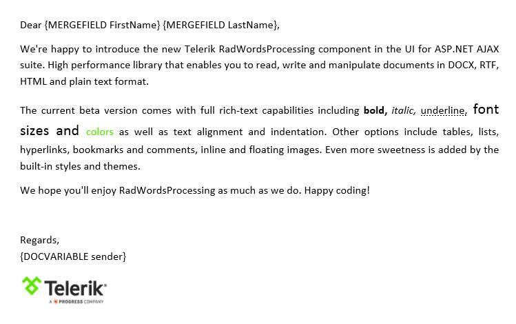 ASP.NET WordsProcessing Demo - Mail Merge