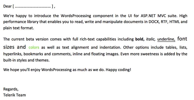 Demo and source code for Telerik WordsProcessing in MVC